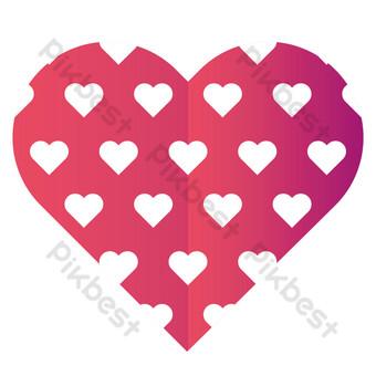 قلب أبيض أحمر قلب التوضيح صور PNG قالب AI