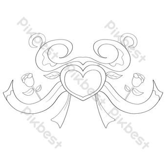 زخرفة القلب الخوخ الأبيض التوضيح صور PNG قالب PSD