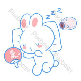 下午睡覺的白兔子 元素 模板 PSD