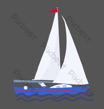 White sail sailing ship at sea PNG Images Template PSD