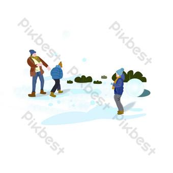 personaje de invierno lucha de bola de nieve escena de ilustración de bola de nieve Elementos graficos Modelo PSD