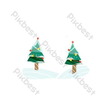 invierno navidad árbol de nieve paisaje nevado elementos planos Elementos graficos Modelo PSD