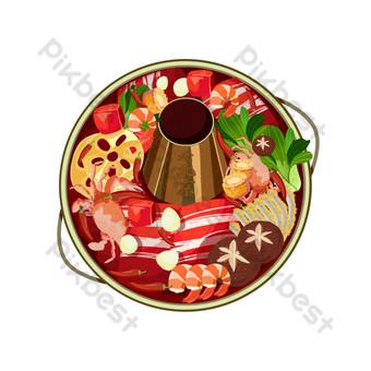Winter gourmet seafood hot pot PNG Images Template PSD