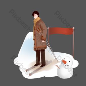 personajes de esquí de invierno y muñeco de nieve. Elementos graficos Modelo PSD