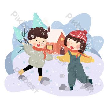 escena de nieve de invierno azul dibujado a mano ilustración escena de nieve png Elementos graficos Modelo PSD