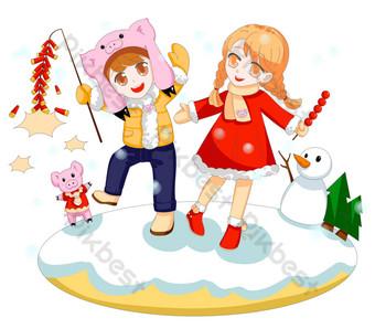 مشهد الثلج في فصل الشتاء يلعب الأطفال مشهد سعيد بابوا نيو غينيا مرسومة باليد صور PNG قالب PSD