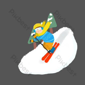 invierno nieve esquí niño libro de imágenes png Elementos graficos Modelo PSD