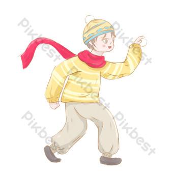 invierno bola de nieve niño ilustración diseño de personajes elementos comerciales Elementos graficos Modelo PSD