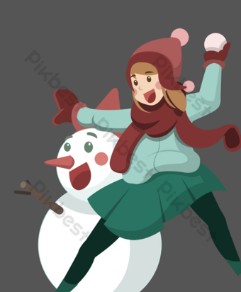 ilustración de dibujos animados de tema de bola de nieve de invierno Elementos graficos Modelo PSD