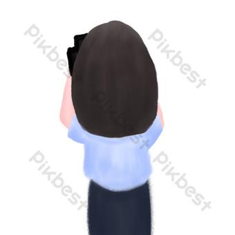 mujer fotografía vista posterior dibujado a mano ilustración psd Elementos graficos Modelo PSD