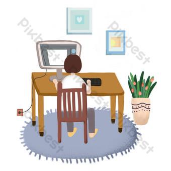العمل في المنزل حرف png صور PNG قالب PSD