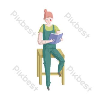 día mundial de la lectura niña sentada en una silla leyendo Elementos graficos Modelo PSD
