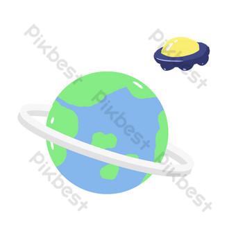 世界空間日行星和不明飛行物圖 元素 模板 PSD