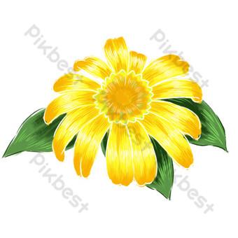 желтые цветущие цветы свободный вырез Графические элементы шаблон PSD
