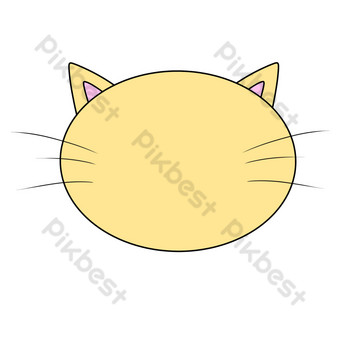 Yellow cartoon simple kitten border PNG Images Template PSD
