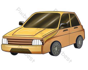 ilustrasi mobil off road kuning Elemen Grafis Templat PSD