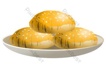 Yellow pancake sesame cake PNG Images Template PSD