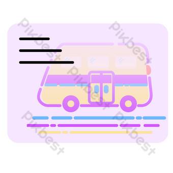 amarillo rosa autobús escolar mbe tarjeta de membresía plana ai vector png hebilla libre Elementos graficos Modelo AI