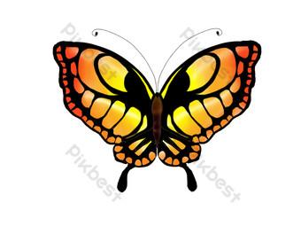 ilustración de mariposa degradado rojo amarillo Elementos graficos Modelo PSD