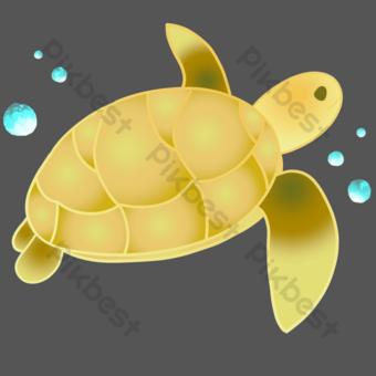 tortuga marina amarilla Elementos graficos Modelo PSD