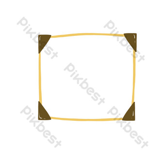 Yellow simple cartoon free buckle border PNG Images Template PSD
