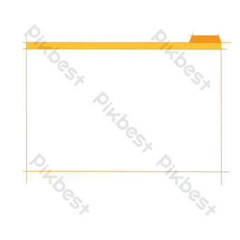 Yellow simple file border PNG Images Template PSD
