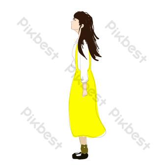 желтая юбка девушка свободный вырез Графические элементы шаблон PSD