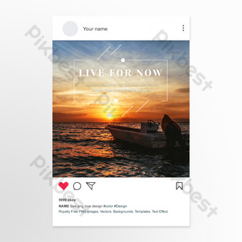 Dawn sea sunrise photography picture inspirational social media template Template PSD