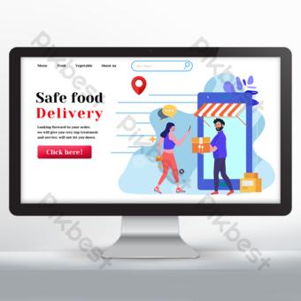 Conception de sites Web de livraison de nourriture simple bleu et blanc Modèle PSD