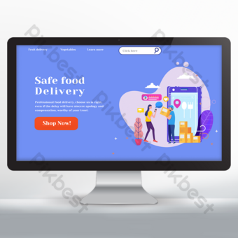 Conception de sites Web de livraison de nourriture bleu et violet Modèle PSD