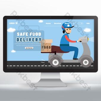 Conception de sites Web de promotion de la livraison de nourriture Modèle PSD
