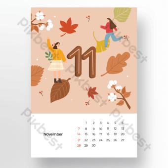 Modèle de calendrier de dessin animé illustration feuille automne novembre Modèle PSD