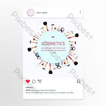 Publicación en redes sociales de promoción de productos de belleza y cuidado de la piel de marco redondo Modelo PSD