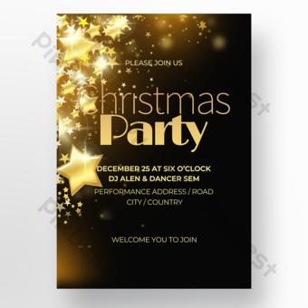تأثير الإضاءة الخلفية المظلمة الحديثة الراقية ملصق عيد الميلاد قالب PSD
