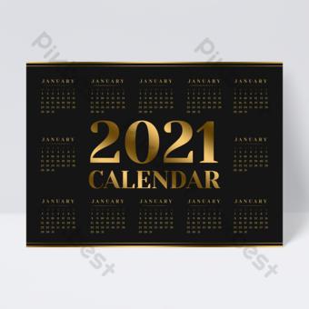 Dépliant de conception de calendrier 2021 simple or noir de luxe Modèle PSD