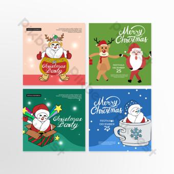 Plantilla de composición de Navidad de elemento lindo muñeco de nieve de Santa Claus Modelo PSD