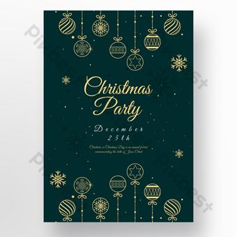 Cartel de navidad de copo de nieve de línea minimalista verde Modelo PSD