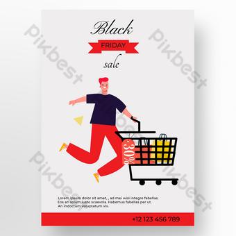 Cartel de fondo rojo gris viernes negro Modelo EPS