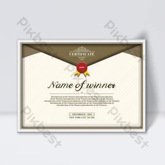 Plantilla de diseño de certificado retro de fondo de color cálido de moda simple y elegante Modelo PSD