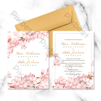 Invitación de boda de doble cara con elementos de flor de cerezo rosa de marco dorado de gama alta Modelo PSD