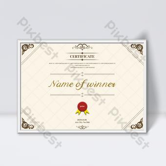 Plantilla de diseño de certificado retro de fondo a cuadros de color cálido elegante y elegante Modelo PSD