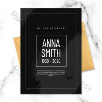 Carte funéraire de style simple noir avec des lignes simples Modèle PSD