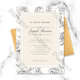 Modèle de carte funéraire floral frais et simple dessiné à la main Modèle PSD