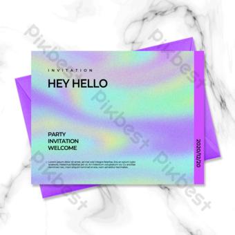 Modèle de carte d'invitation de fête géométrique de couleur laser Modèle PSD