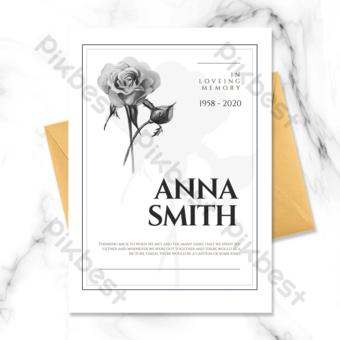 Carte funéraire de fleur de ligne de style simple noir et blanc Modèle PSD