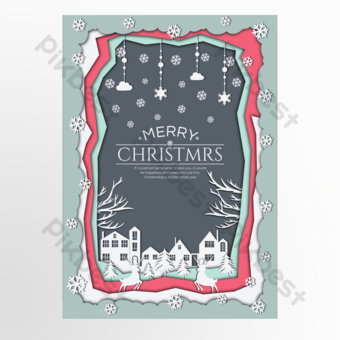 قطع ورقة رمادية داكنة على غرار ملصق عيد الميلاد قالب PSD