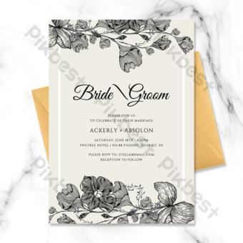 Invitación de boda de flores en blanco y negro de borde simple de moda Modelo PSD