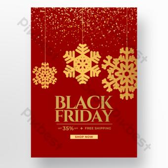 Cartel de viernes negro con copos de nieve dorados sobre fondo rojo Modelo PSD