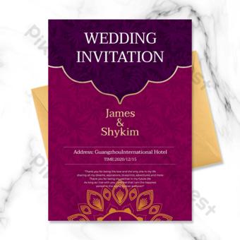 دعوة الزفاف الهندي الأرجواني قالب PSD