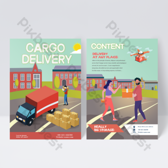 Freight distribution service leaflet Template PSD